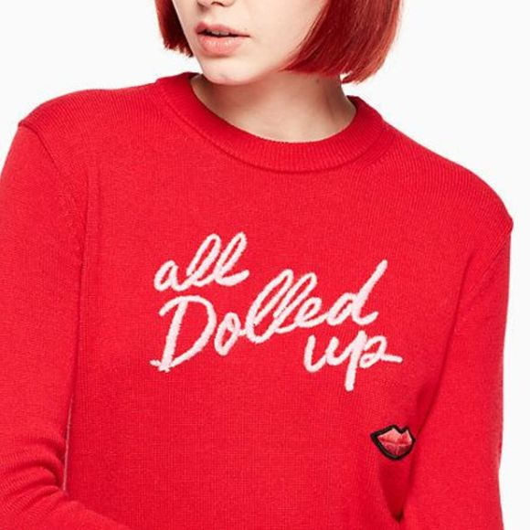 Kate Spade 'All Dolled Up' Embroidered Sweater Red